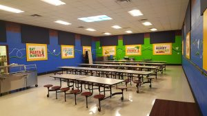 perimeter wall sound panels wall mounted for soundproofing a cafeteria