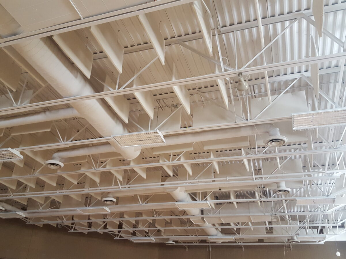 sound baffles control echo levels in loud gym space