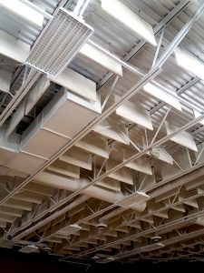 Acoustic Baffles Control Echoes in Loud Commercial Spaces