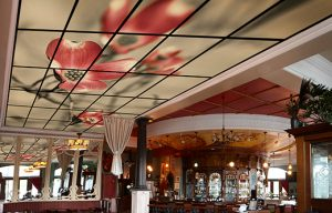 Acoustic Art Panels on the Ceiling of a Restaurant to Control Noise