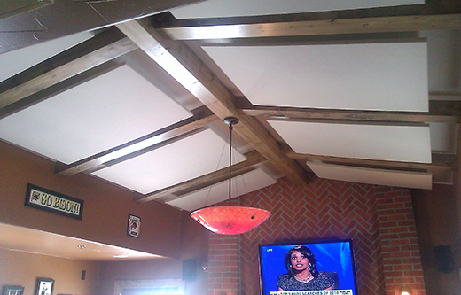 acoustic ceiling clouds for soundproofing a bar