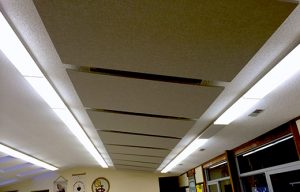 ceiling suspended acoustic ceiling clouds controlling noise in a fellowship hall