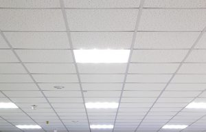 Acoustic ceiling tiles for soundproofing a room with NetWell Noise Control.