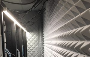 acoustic foam for capturing and converting loud computer rack noise