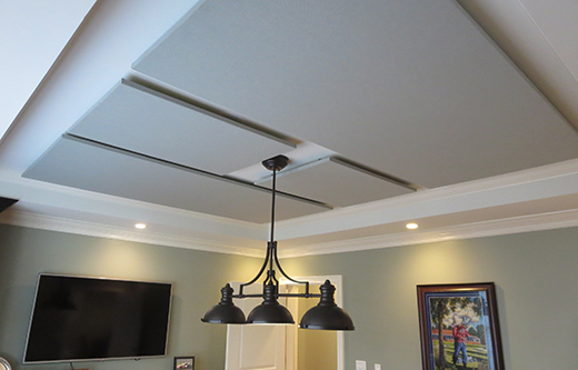 sound panels ceiling mounted for soundproofing a loud conference room