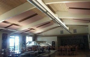 ceiling mounted sound panels control noise levels in a fellowship hall