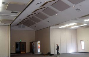 fellowship hall soundproofing with acoustic ceiling clouds