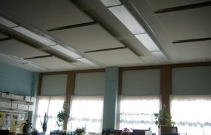 classroom soundproofing with ceiling mounted sound panels for controlling noise