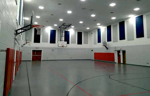 Color Coordinated Sound Panels for Soundproofing a Gym