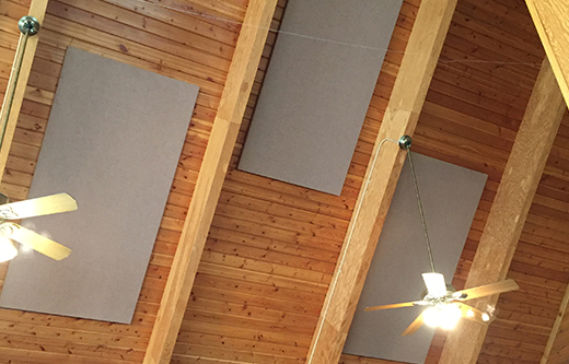 sound panels ceiling mounted for reducing echoes in a multipurpose room