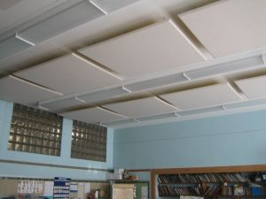 ceiling mounted sound panels control classroom noise