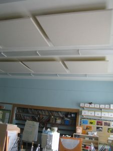 classroom noise control with acoustic ceiling clouds