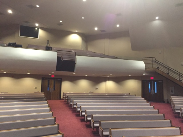 sound panels control reverberations in a church sanctuary