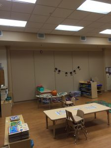 acoustic fabric panels double as bulletin boards in a classroom