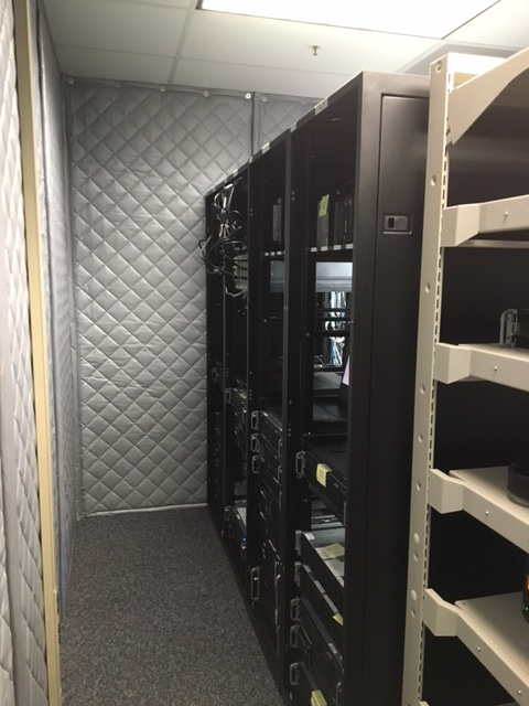 computer rack noise contained with sound barrier curtains