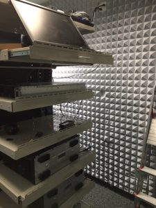 noise reduction panels and pyramid acoustic foam panels to reduce sound from computer rack