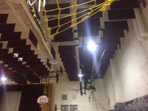 Fabric Acoustic Sound Baffles to Control Echoes in Gym