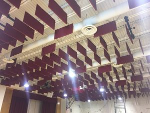 Acoustic Sound Baffles Hanging from Ceiling Control Room Echoes