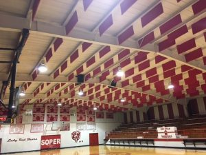 sound baffles capture echoes in loud gym space