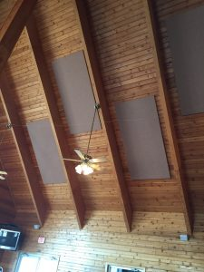 sound panels recessed into a ceiling to soundproof a room