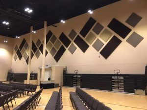 cloth wrapped Fabric Panels for controlling echoes in a sanctuary