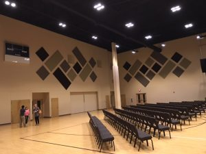 multi colored sound panels for soundproofing a sanctuary