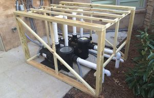 framing built around loud pool pump for sizing noise control blankets for soundproofing a loud pool pump