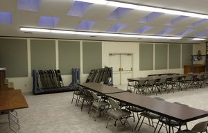 fellowship hall sound proofing with sound panels to control noise levels