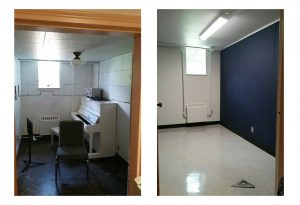 before and after for soundproofing a music room with acoustic sound panels