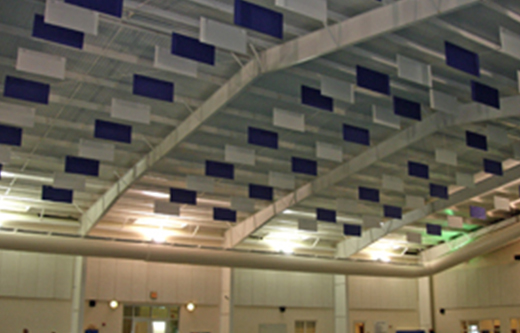 sound baffles in a loud swimming pool room controlling noise