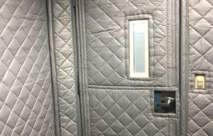 sound barrier QBS blankets deaden noise through a door