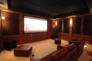 acoustic panel treatment in home theater setting