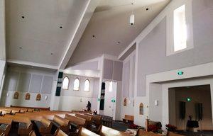 sanctuary sound control with decorative acoustic sound panels