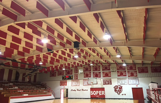 ceiling suspended sound baffles controlling gymnasium noise