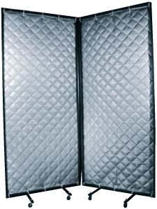 QBS sound barrier blankets on a frame for portable noise reduction