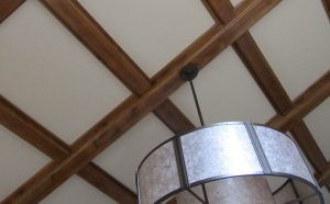 recessed sound panels in ceiling to control echoes in a great room