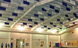 acoustic baffles for soundproofing a natatorium