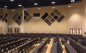 multi color sound panels for soundproofing a sanctuary