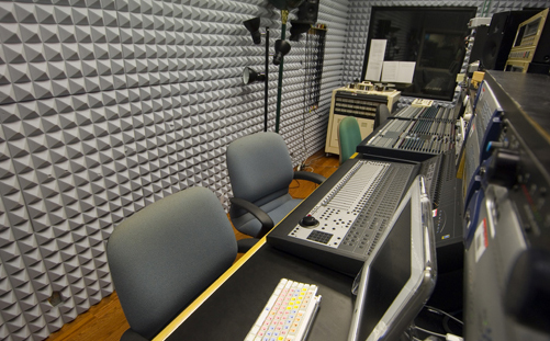 noise control in a control room with acoustic foam pyramids