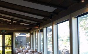 ceiling clouds control restaurant noise