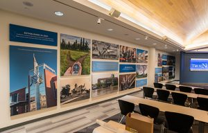 imaged wrapped sound panels improve acoustics in a loud conference room