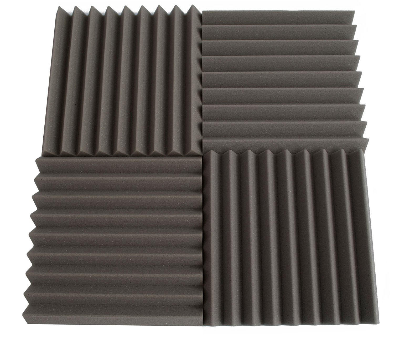 linear wedge acoustic foam panels capture echoes