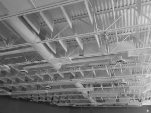 acoustic sound baffles in a metal deck ceiling