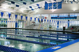 aquatic center with soundproofing acoustic baffles
