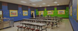 loud cafeteria with noise control panels