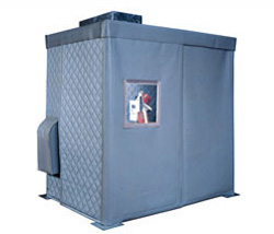 sound enclosure with QBS noise control blankets isolate machine noise