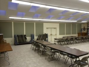 acoustic panels control noise in social hall