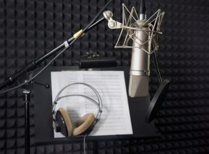 Noise Reduction Foam Acoustic Pyramids used in Recording Studio