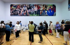 murals of designer sound panels in a multipurpose room for soundproofing