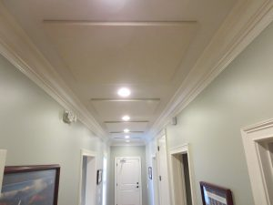 hallway sound control with ceiling mounted sound panels
